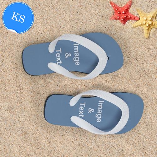 Personalisierte Strandsandalen Kinder Größe S 25-28 ZWEI BILDER Weiß