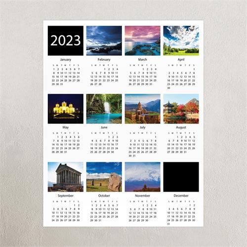 Weiße Zehner Collage Kalender Poster 2018, 30,5 x 45,7 cm
