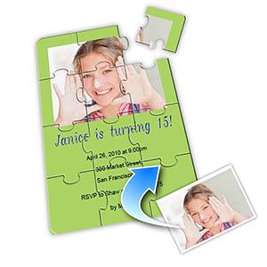 einladungskarten zum geburtstag, party, feier als in puzzle-look, Einladung