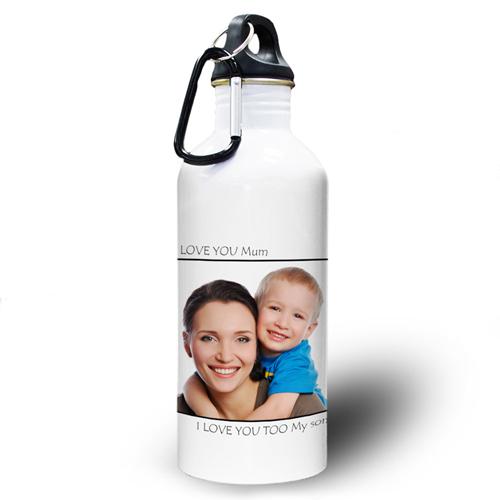 Vollbild Schwarz Wasserflasche zum Personalisieren