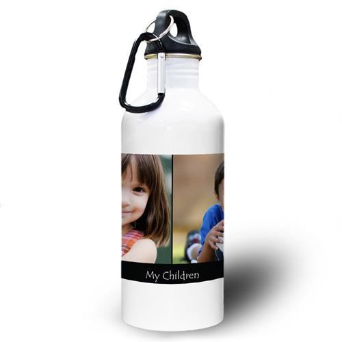 Collage Zwei Fotos Schwarz Wasserflasche personalisieren