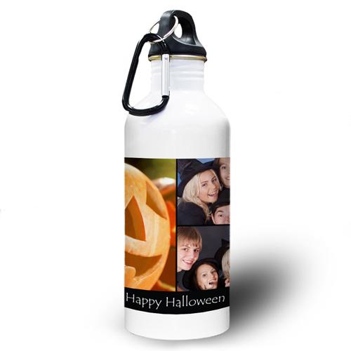 Collage Drei Fotos Schwarz Textbox Wasserflasche zum Personalisieren
