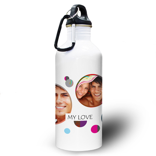 Bunte Punkte Dreier Collage Wasserflasche Textbox