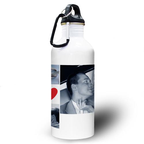 Collage Vier Fotos mit Herz Wasserflasche Zwei Textboxen