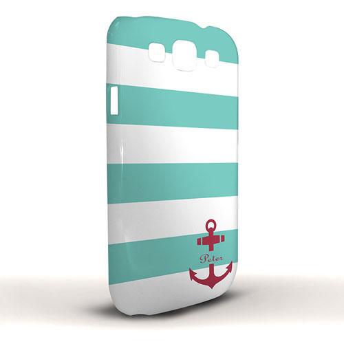 Roter Anker Aqua Streifen Samsung S3 Case