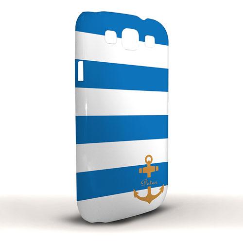 Oranger Anker Blaue Streifen Samsung S3 Case