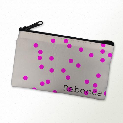 Pinke Punkte Kosmetiktasche 10,2 x 17,8 cm Personalisieren