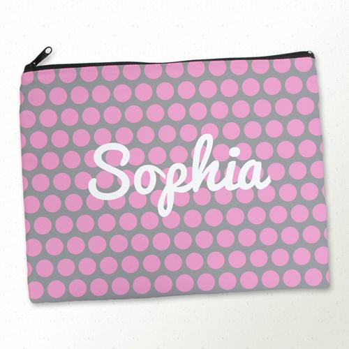 Große Punkte Pink Kosmetiktasche 27,9 x 35,6 cm