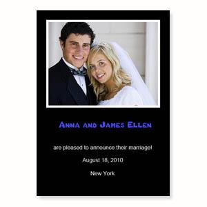 Hochzeitsankündigung, 12,7 cm x 17,8 cm, einfache Karte, Schwarz