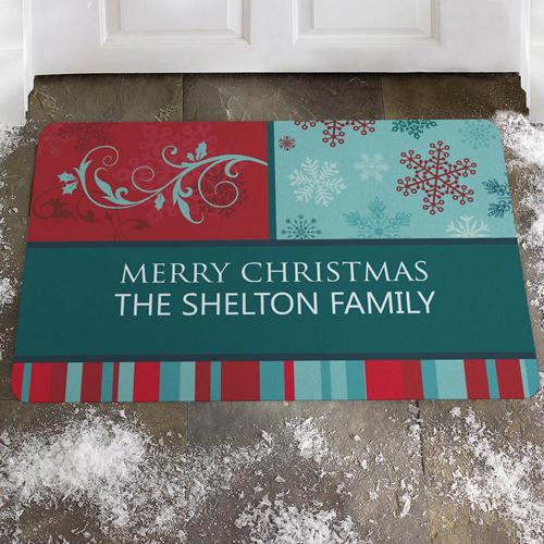 Weiße Weihnachten Bunt Fußmatte Türmatte Personalisieren