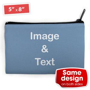 Blaue Kette Kosmetiktasche beidseitig gleich personalisieren 12,7 x 20,3 cm