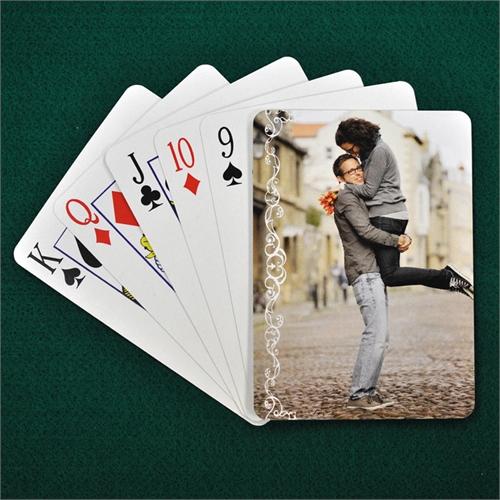 Hochzeitsspielkarten, Weiße Spitze, Hochformat