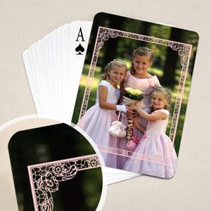 Hochzeitskartenspiel mit Rahmen in Pink
