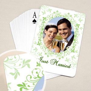 Hochzeitsspielkarten, Florales Grün