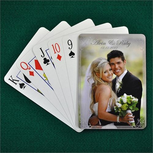 Hochzeitstagsspielkarten, Silber, Hochformat