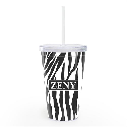 Zebramuster Doppelwand Acrylbecher Personalisieren