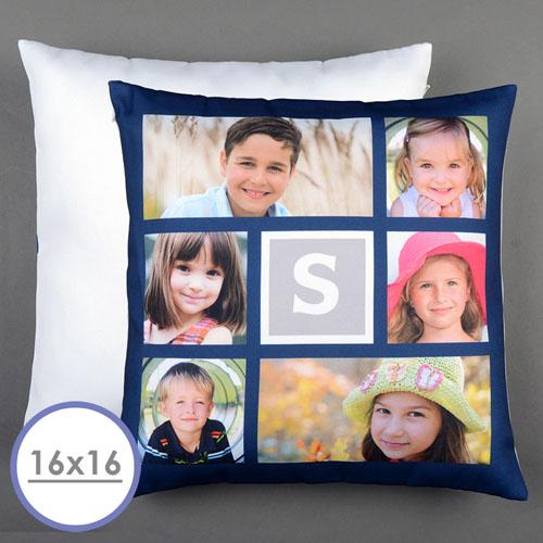 Collage 6 Fotos Personalisierter Kissenbezug Navy Blau 40,6 x 40,6 cm