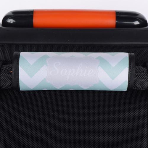Wellen Minze Grau Personalisierter Kofferanhänger