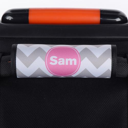 Wellen Grau Pink Personalisiertes Kofferschild