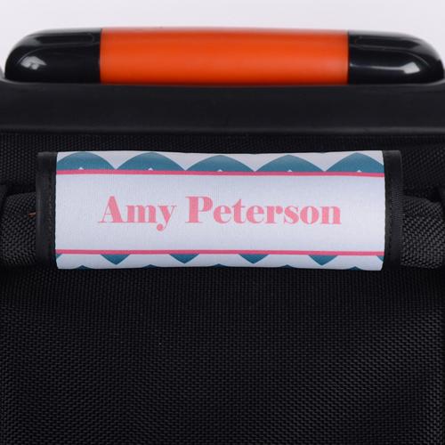 Wellen Pfauenblau Pinker Rahmen Personaliserter Gepäckanhänger