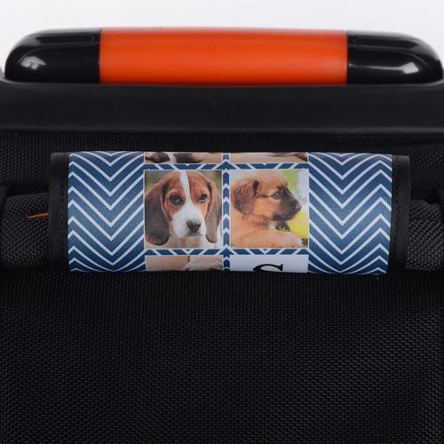 Dunkelblau Wellen Collage Personalisierter Gepäckanhänger