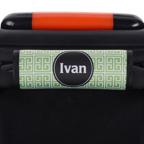 Griechisches Muster Grün Schwarz Personalisierter Kofferanhänger