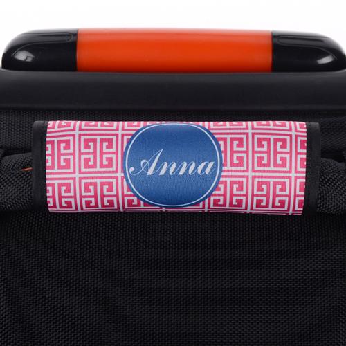 Griechisches Muster Pink Blau Personalisierter Kofferanhänger