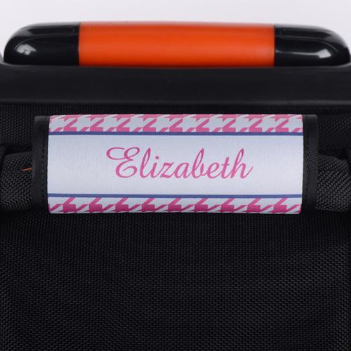 Hahnentritt Pink Personalisierter Kofferanhänger