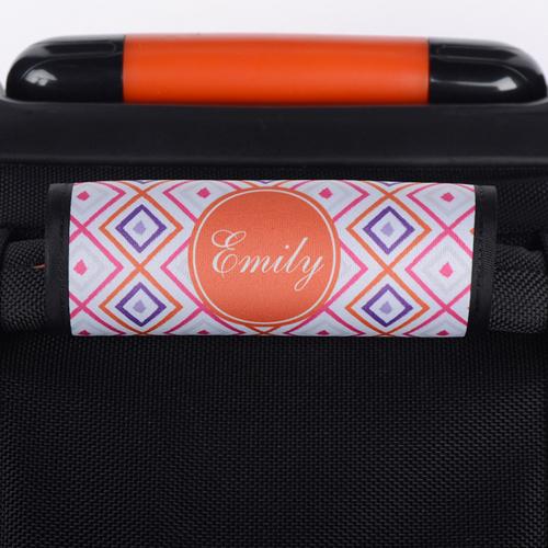 Ikat Pink Orange Personalisierter Kofferanhänger