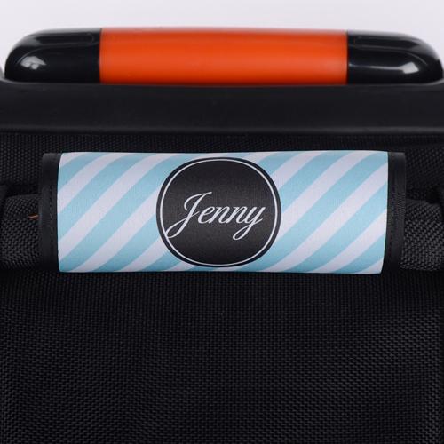 Pfauenblau Streifen Personalisiertes Kofferschild