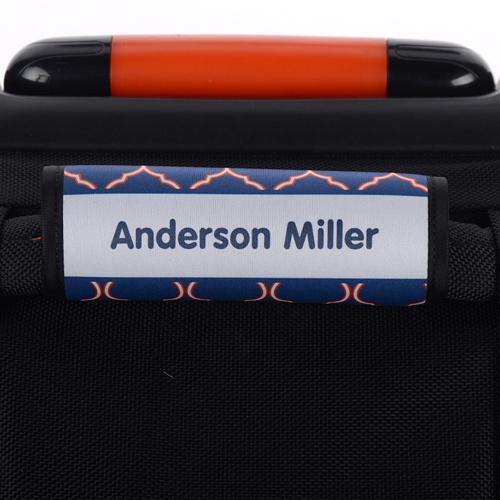Vierpass Orange Blau Personalisierter Kofferanhänger