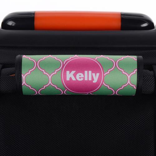 Pfauenblau und Pink Vierpass Personalisiertes Kofferschild