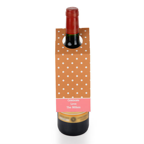 Weiße Punkte Brauner Grund Personalisierte Weinflasche Tag Sechs Stück