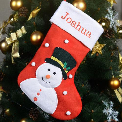 Embroidered Name Snowman Christmas Stocking