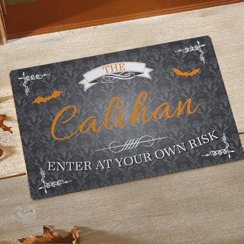 Enter At Your Own Risk Türmatte Fußmatte Schmutzfangmatte Personalisieren