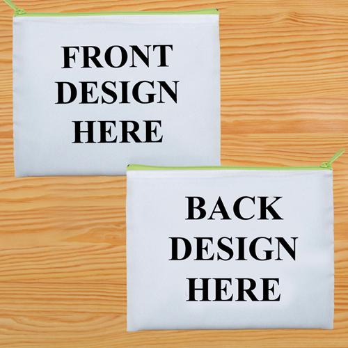 Kosmetiktasche Zwei Seiten Zwei Motive Grüner Reißverschluss Personalisieren-20,3 x 25,4 cm