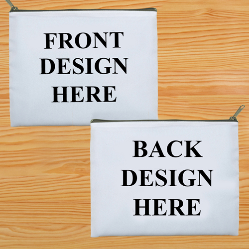 Kosmetiktasche Zwei Seiten Zwei Motive Grauer Reißverschluss Personalisieren-20,3 x 25,4 cm