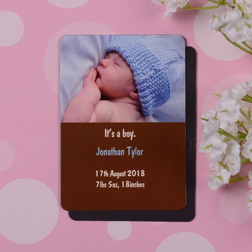 Geburtsanzeige Junge Photo-Magnet, Kokosbraun