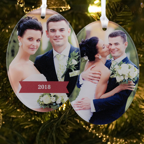 Married & Merry Personalized Photo Acrylic Oval Ornament