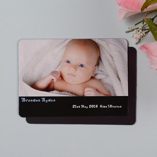 Mensch Junge Geburtsanzeige Fotomagnet, Schwarz