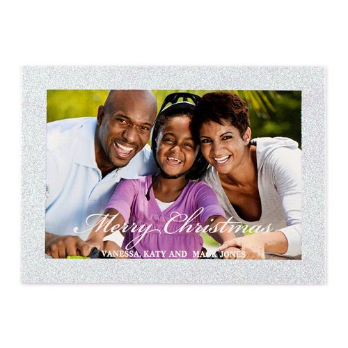 Weihnachtskarten Personalisiert.Weiße Weihnachten Silber Glitzer Personalisierte Foto Weihnachtskarte 127x178