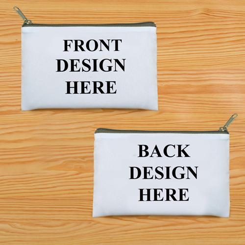 Schminkbeutel Vorne/Hinten Unterschiedlich Personalisieren 24,1 x 33,0 cm Reißverschluss Grau