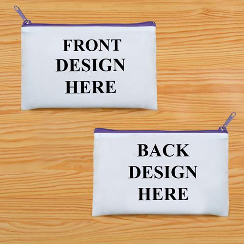 Schminkbeutel Vorne/Hinten Unterschiedlich Personalisieren 24,1 x 33,0 cm Reißverschluss Violett