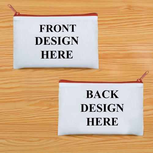 Schminkbeutel Vorne/Hinten Unterschiedlich Personalisieren 24,1 x 33,0 cm Reißverschluss Rot