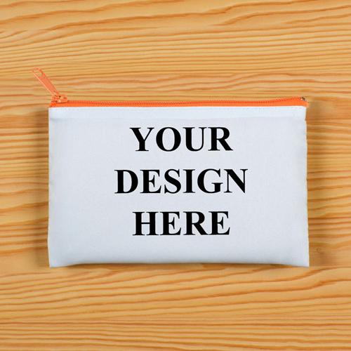 Vollbild Kosmetiktasche Oranger Reißverschluss Beide Seiten gleiches Foto 27,9 x 35,6 cm