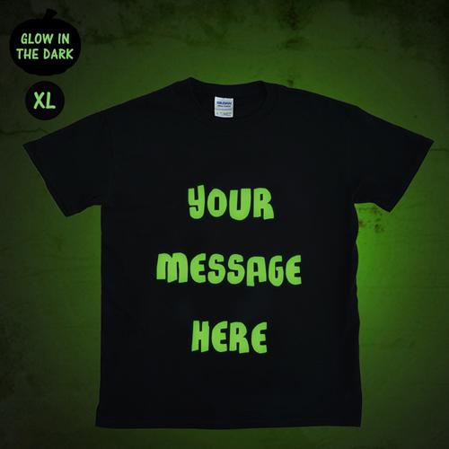 Meine Worte Grusel Leuchtendes Glow T-Shirt Personalisieren Baumwolle Größe XL