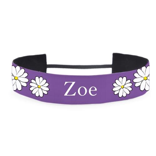 Gänseblümchen violett Stirnband für Mädchen Personalisieren 38 mm