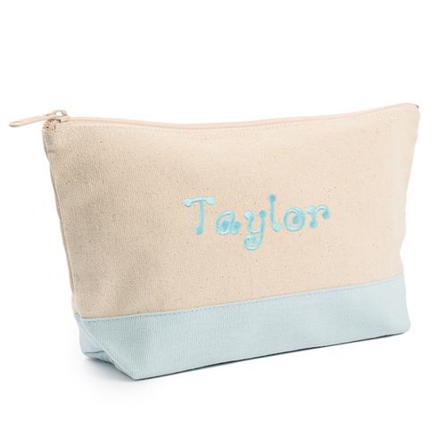 Blau Weiß Mittelgroße Bestickte Kosmetiktasche Gestalten 16,5 x 24,1 cm