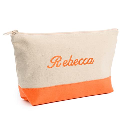 Orange Weiße Mittelgroße Bestickte Kosmetiktasche Gestalten 16,5 x 24,1 cm