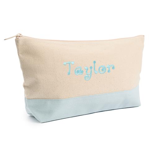 Blau Weiß Bestickte Kosmetiktasche Personalisieren 17,8 x 27,9 cm